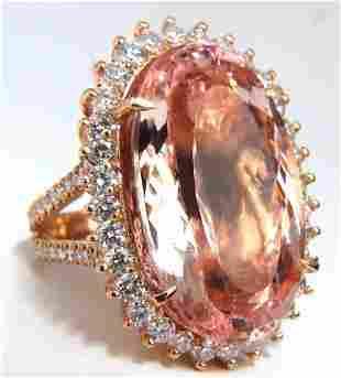 GIA Certified 36.18ct Natural Orangy Pink Morganite