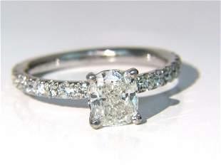 GIA 1.62ct. Cushion cut diamond ring 18kt H/VS
