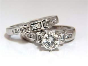GIA Certified 1.40ct round diamond ring & Matching band