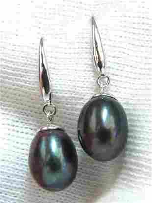 11x8 Black Freshwater Pearl Dangle earrings 14kt