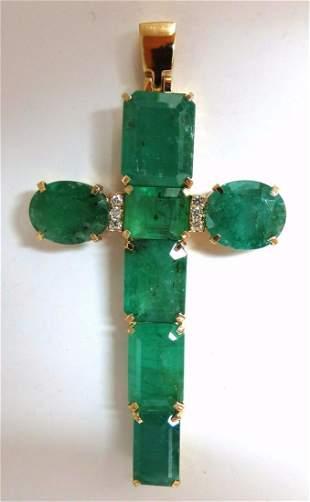 14.20ct natural emeralds cross diamond pendant 14kt