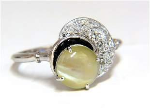 1.85ct natural cabochon chrysoberyl cats eye diamonds