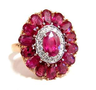 AIGS Certified 4.70ct Natural Ruby Diamonds cluster