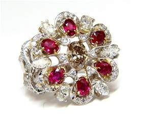 18kt Natural Fancy color Diamond Ruby Cocktail Cluster