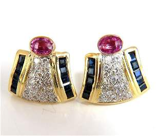 7.30ct Natural Pink Sapphire Diamond Clip Earrings 18kt