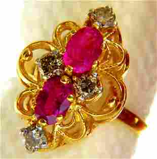 2.05 Natural Ruby & Diamonds ring 14kt.