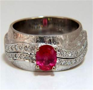 GIA Certified 1.24ct No Heat Ruby Diamond Ring 14 Karat