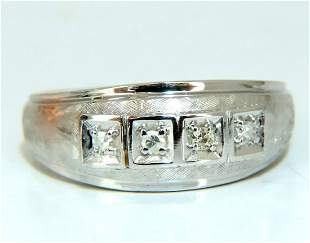 Mens .15ct natural round cut diamonds wide band bead 14