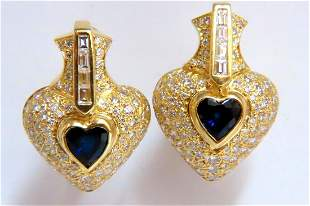 Heart Natural Sapphire Clip Earrings 7.00ct Raised Dome