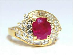 GIA Certified 4.08ct Burma Red Ruby Diamonds Ring 18 Kt