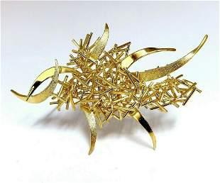 Modern Hand Made Fused Gold Sticks Pin 18 Karat