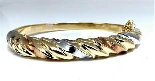Tri-Color Bangle bracelet Wide 14 Karat