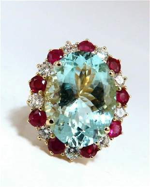 15.34ct Natural Aquamarine Ruby Diamonds Patriot Cluste