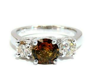 2.30ct Natural Fancy Color Sapphire Diamonds Ring 14 Kt