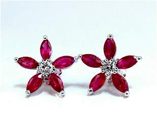 3.00ct Natural Ruby Cluster Diamond Earrings Snow Flake