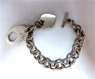 Sterling Silver Toggle Heart Link Bracelet
