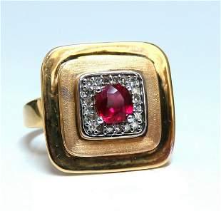 .74ct Chinese Pagoda Vintage Natural Ruby Ring 14Kt