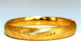 14kt Gold Hand Made Graver Patina Bangle Bracelet