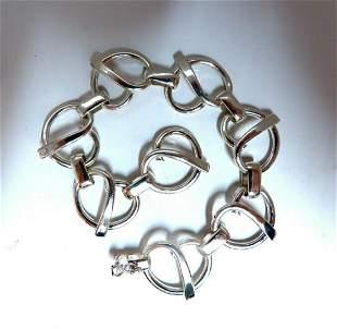 Sterling Silver Mod Open Heart Link Bracelet