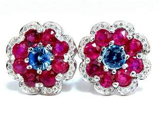 7.30Ct Natural Ruby Sapphire Diamond Cluster Earrings