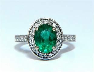 3.08ct Natural Vivid Green Emerald Diamonds Halo Ring