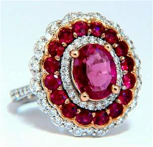 GIA Certified 4.06ct oval cut red No Heat Ruby diamonds