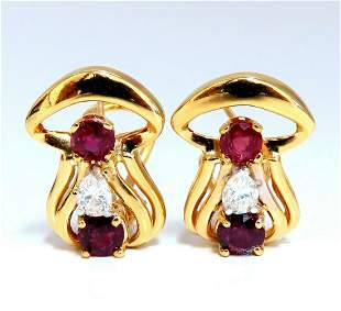 2.10ct natural red ruby diamonds clip earrings 14kt.