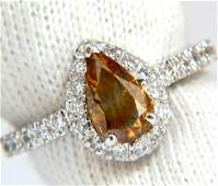 1.60ct. natural fancy color yellow brown diamonds halo