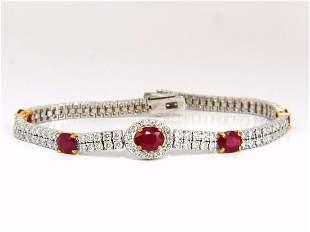 7.34ct natural ruby diamonds bracelet regency deco 14kt