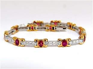 3.76ct natural ruby diamonds tennis bracelet 14kt vivid
