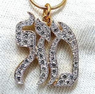 1.60ct natural diamonds hebrew nameplate necklace