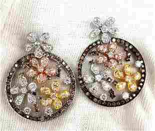 5.00ct natural fancy color diamonds flower clusters