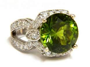 GIA Certified 12.15ct natural green peridot diamond