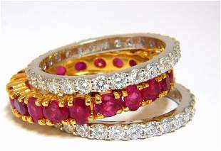 Stackable Ruby Diamonds eternity Ring 14kt Natural