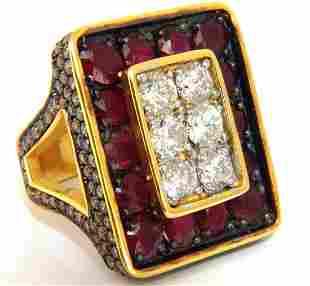 19.84ct Natural Diamonds Ruby Mens Ring 18kt Big & Tall
