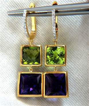 13.05ct Natural Amethyst Peridot Diamond Dangle earring