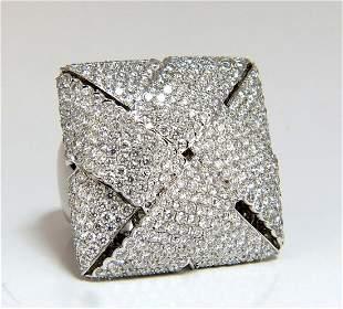 7.15ct 3D Unisex Cross weave Dome Diamond Ring 18 karat
