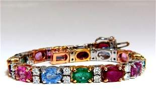 22.90ct natural sapphires emeralds ruby diamond tennis