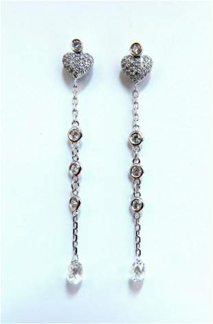1.45ct Natural Briolette Diamonds Dangle Earrings 14 kt