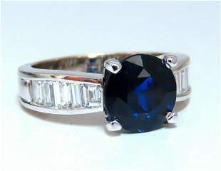 GIA Certified 4.09ct Natural Round No Heat Sapphire