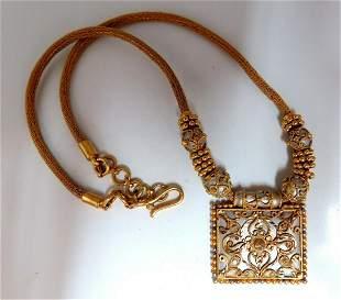 22kt Carved Greek Gold Necklace 22kt Gold Iconic Emblem