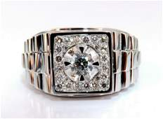 .63ct Natural Diamonds Mens Solitaire Accent Ring 14
