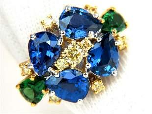 7.19CT NATURAL FANCY YELLOW DIAMONDS SAPPHIRE TSAVORITE