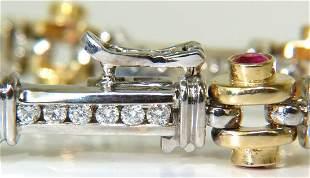 4.50ct NATURAL FINE RUBY DIAMOND BAR LINK BEARING DECO