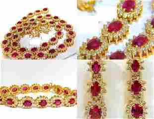 67.20CT NO HEAT RUBY DIAMOND NECKLACE BRACELET EARRINGS