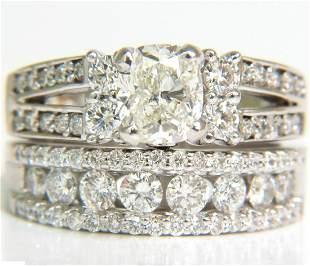 GIA 3.02CT CUSHION BRILLIANT DIAMOND RING & MATCHING