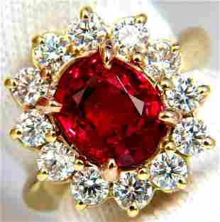 GIA 5.49CT NO HEAT VIVID RED SPINEL DIAMOND RING 18KT