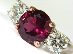 7.33CT NATURAL VIVID RED RUBELLITE DIAMONDS RING