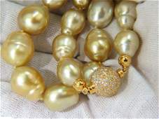 18KT 14.5M NATURAL SOUTH SEA YELLOW PEARLS NECKLACE