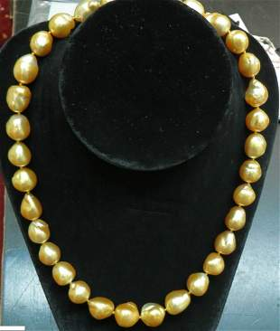 18KT 16.6M NATURAL SOUTH SEA GOLDEN PEARLS NECKLACE